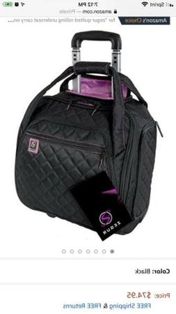 ZEGUR Quilted Rolling Underseat Carry-On Luggage Wheeled Tra