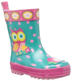Stephen Joseph Girls' Rain Boots, Teal Owl, 9