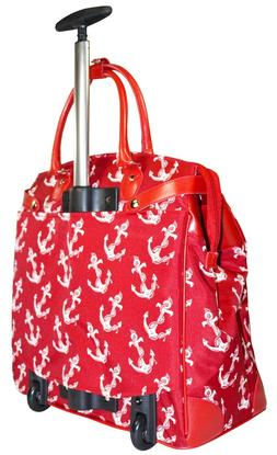 Red Nautical Print Rolling Overnight Bag Features Laptop Com