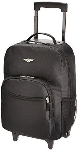 Rockland Luggage 17 in. Black Rolling Backpack