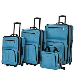Rockland Deluxe Expandable 4-Piece Luggage Set - Turquoise
