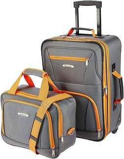 Rockland Fashion Softside Upright Luggage Set, Purple, 2-Pie
