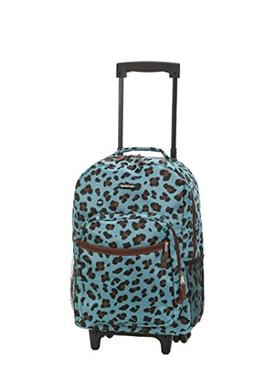 Rockland 17-inch Rolling Carry-On Backpack - Blue Leopard