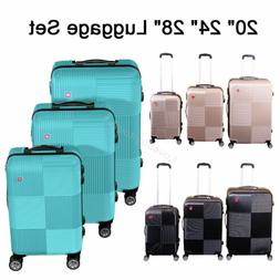 Set of 3 Premium Luggage Set ABS Trolley Suitcase 360° Spin