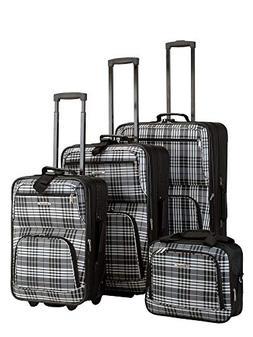 4 Piece Luggage Set - Pattern: Black Plaid