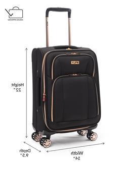 """iFLY Softside Luggage Sunset 20"""", Black/Rose Gold"""