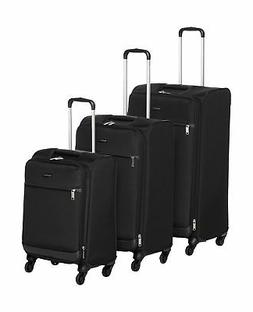 AmazonBasics Softside Spinner Luggage - 3 Piece Set , Black
