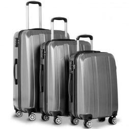 """Stylish Gray Travel Luggage Set With TSA Lock 20"""" 24"""" 28"""" Su"""