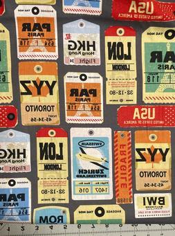 Travel Fabric Cotton Luggage Tag London Paris Hong Kong Rome