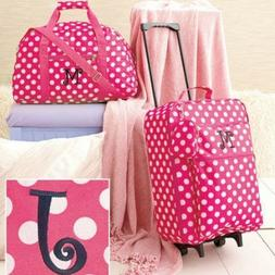 Travel Luggage Girls Set Pink White Polka Dot Fabric Suitcas