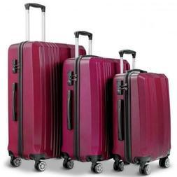 """Travel Luggage Set With TSA Lock 20"""" 24"""" 28"""" Suitcase Burugn"""