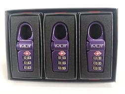 Tumi TSA Approved Combination Luggage Lock Set of 3, Purple