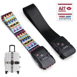 TSA Travel Luggage Strap w/Approved Lock Adjustable Suitcase