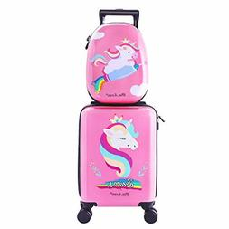 Unicorn Kids Carry On Luggage Set with Spinner Wheels, Girls