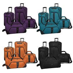 US Traveler Oakton 4pc Expandable Rolling Suitcase Duffel &