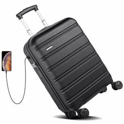 REYLEO USB Charging Luggage 20in PC+ABS Carry on Luggage Tra