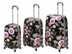 Rockland Vision Black/ Pink Flower 3-pc Hardside Spinner Lug