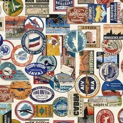 Wanderlust Luggage Labels Vintage World Travel Cream Cotton