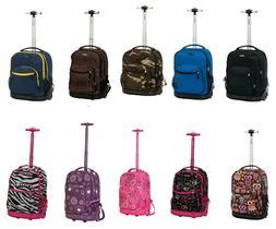 "Wheel Backpack Rolling 19"" Travel Bag School Aluminum Handle"