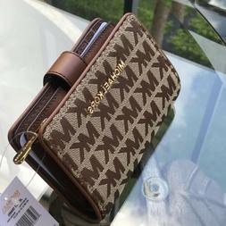 Michael Kors Women Jacquard Leather Small Bifold Wallet Card