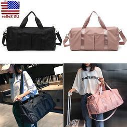 Women Nylon Gym Sports Shoulder Handbag Luggage Duffel Pack