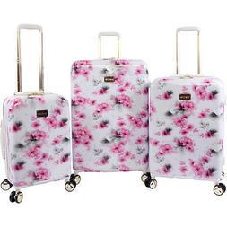 BEBE Women's Juliette 3pc Spinner Suitcase Set, Pink Floral