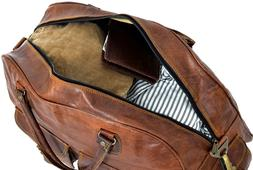 women's Vintage Brown Genuine Leather Luggage Duffle Gym Ove