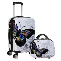 World Traveler Butterfly 2-piece Hardside Carry-on Spinner L